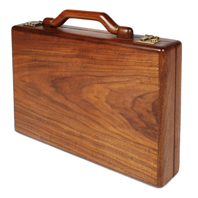 Custom Wooden Attache Case by Jeffrey Benjamin | From a unique collection of antique and modern trunks and luggage at https://www.1stdibs.com/furniture/more-furniture-collectibles/trunks-luggage/