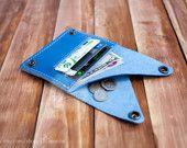 Mens leather wallet credit card wallet blue genuine leather wallet minimal wallet slim wallet coin pocket wallet card holder travel wallet