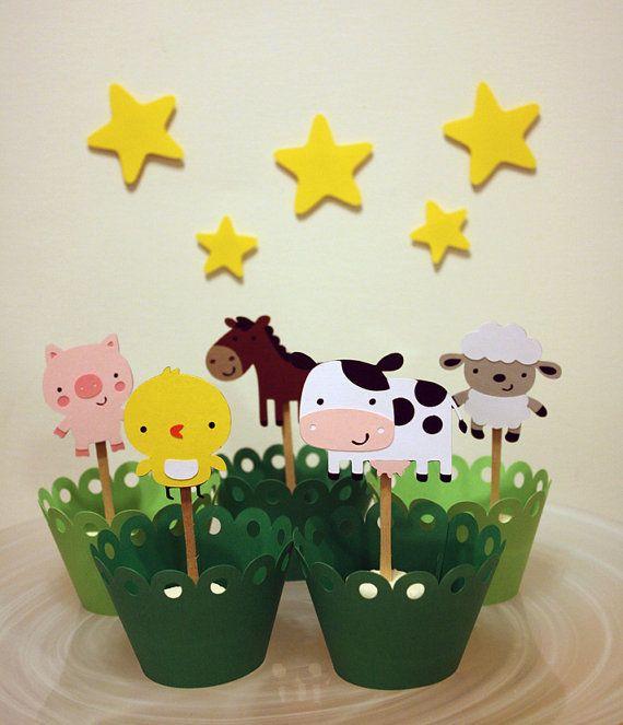 Down on the Farm Barn Themed Animals Party Cupcake Toppers / Cake Topper / Mini Cupcake Toppers / Centerpieces
