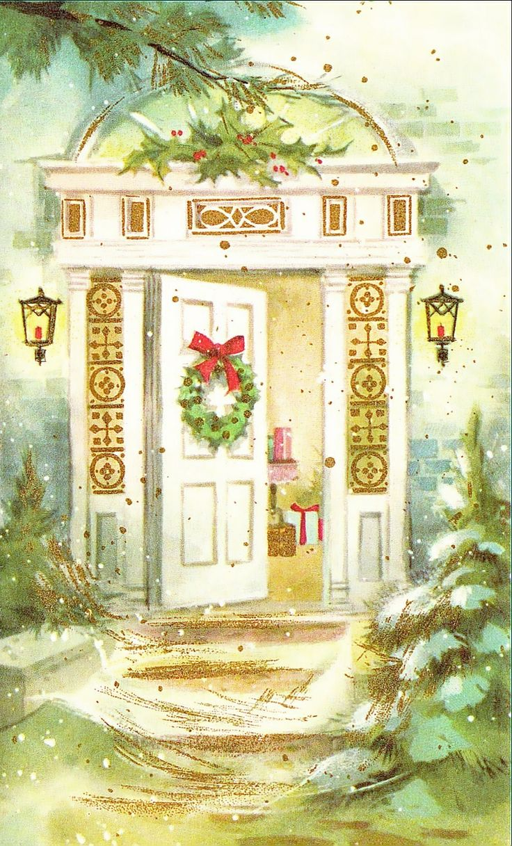 Vintage Open Friendly Door At Christmas Greeting Card