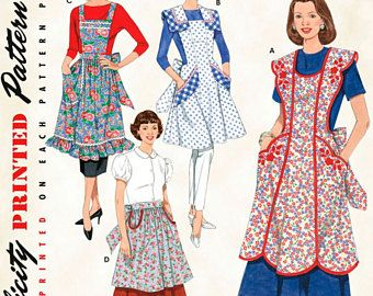 Retro Aprons Pattern Simplicity 2592 reprint of two 50's
