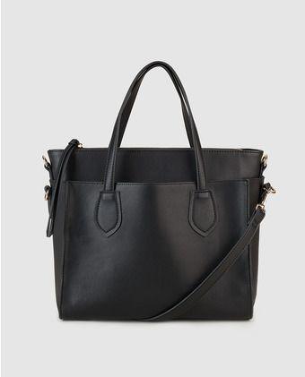 Bolso negro con compartimento extraíble