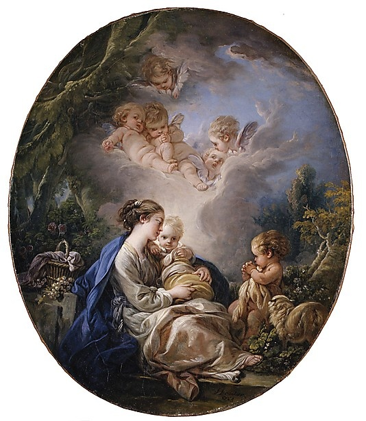 Virgin and Child with the Young Saint John the Baptist and Angels  François Boucher  (French, Paris 1703–1770 Paris)