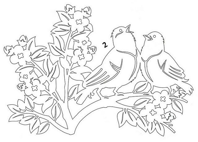 DIY: Song birds on branch. Free Paper craft; stencil/template/pattern.