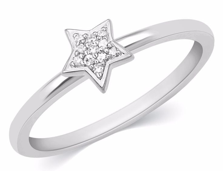 1/20 Ct  Round Cut Natural Diamonds Star Shaped Ring Sterling Silver #caratsforyou #Promise #Anniversary