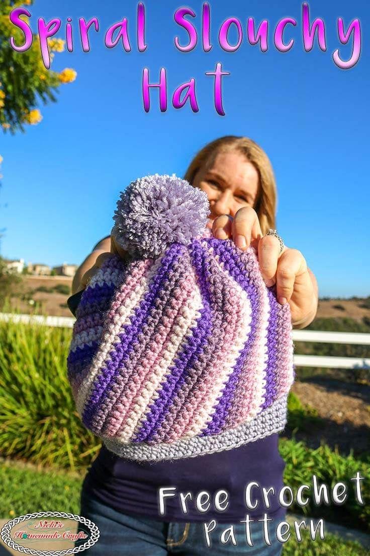 Spiral Slouchy Hat Using Caron X Pantone Yarn Free Crochet Pattern