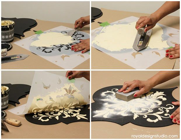 DIY Tutorial that you can do yourself!  How to stencil emboss with Wood Icing on Wall Art Wood Shapes from Royal Design Studio
