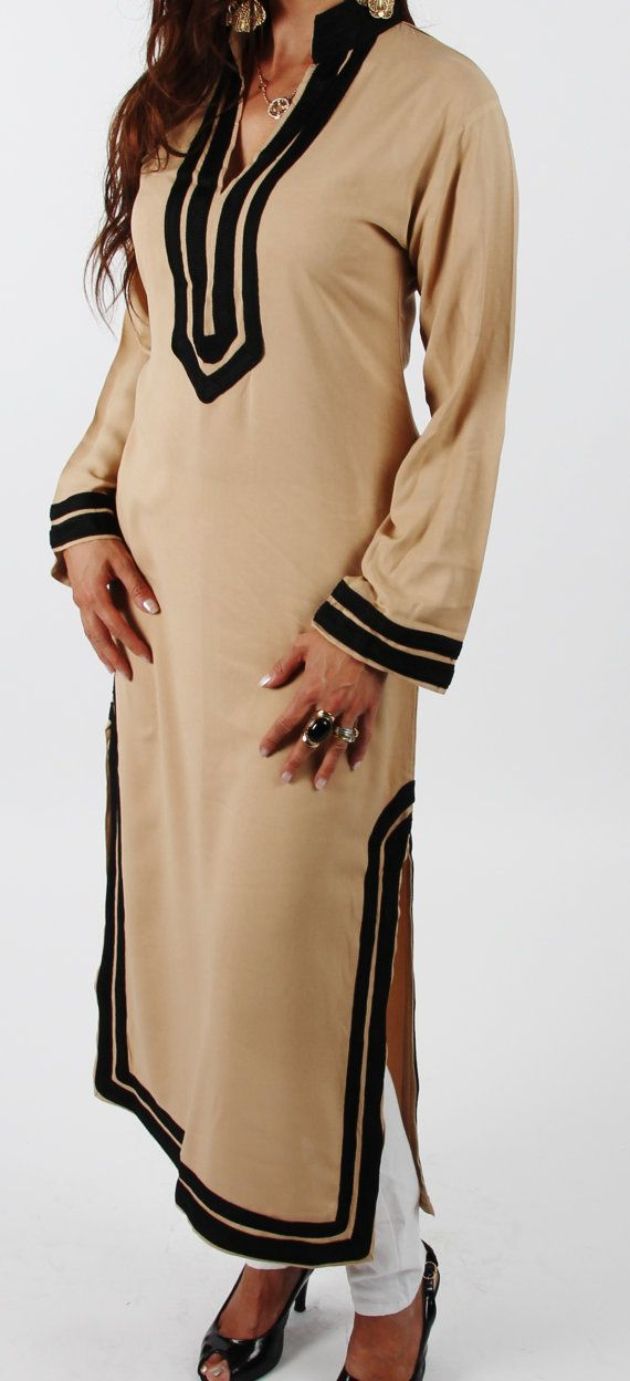 Tory Burch Style Beige Moroccan Caftan Dress  - Mariam- Perfect as loungewear, as beachwear, gift for moms and to be moms