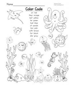 Printable (Scribd) - Ocean Scene Sight Word Color Code