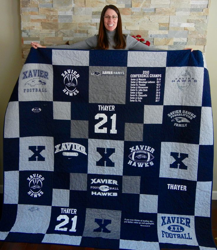 I created this great t-shirt quilt with my sons high school football t-shirts.