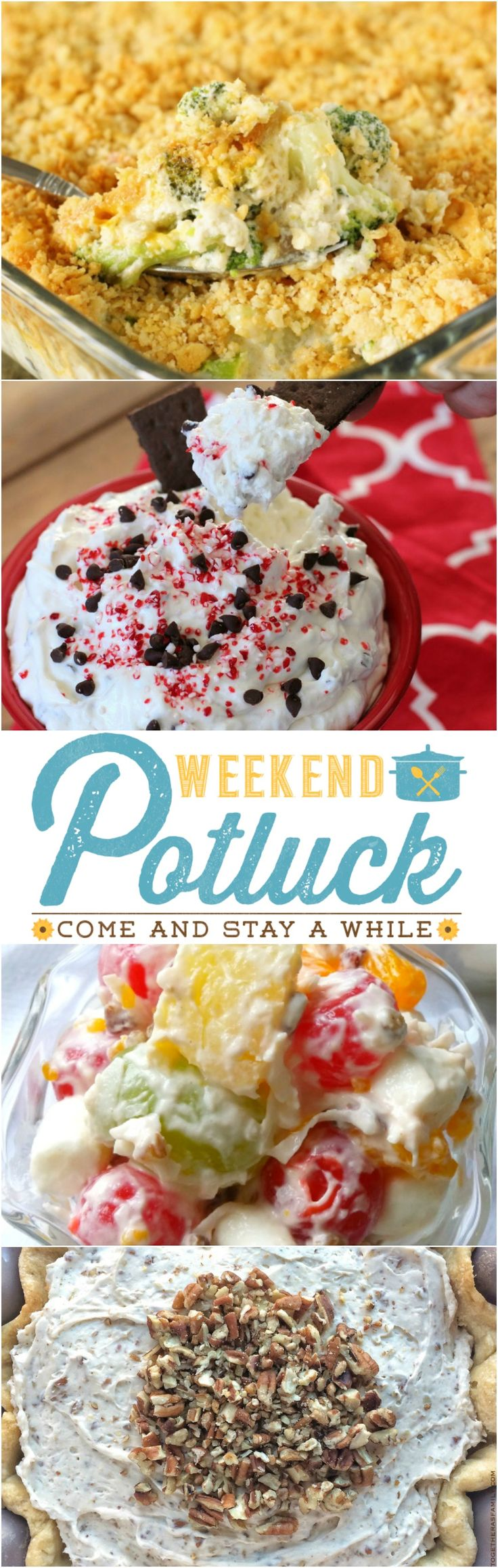Weekend Potluck at The Country Cook! Featured recipes include: Creamy Broccoli Casserole, Peppermint Mocha Cheesecake Dip, Ambrosia Fruit Salad, Creamy Pecan Pie