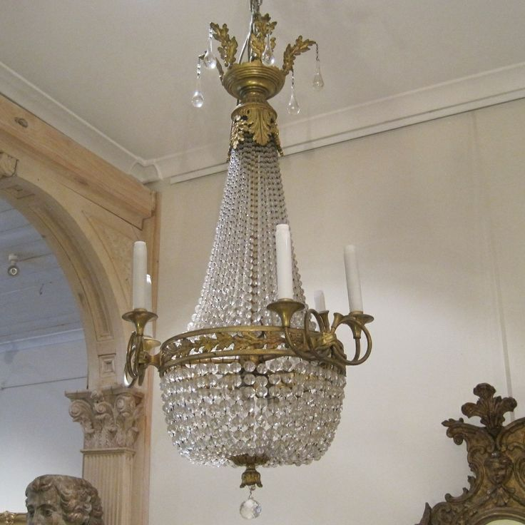 French Bronze And Crystal Six Branch Light