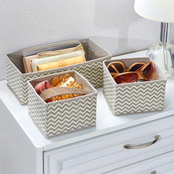 Storage Bin Baskets Fabric Box Dresser Drawer Organizer Chevron Function Set 3pc #InterDesign