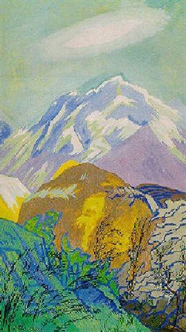 Landskab med i baggrunden Mont Blanc by Jens Ferdinand Willumsen
