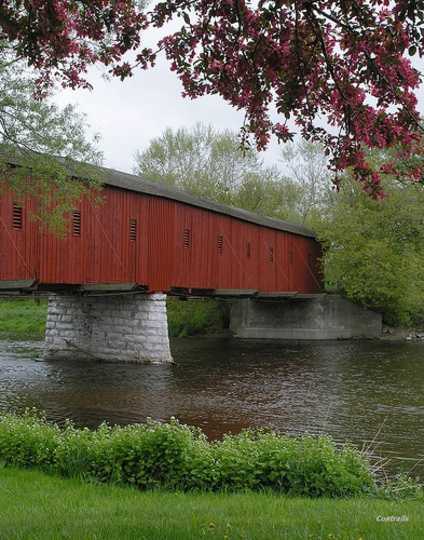130th anniversary of the Kissing Bridge in West Montrose over the Grand River, Ontario; one of few covered bridges left in Canada.
