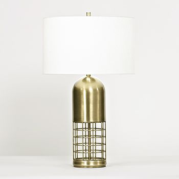 Antiqued brass bullet cage table lamp an edgy cage design lends an industrial edge to this traditionally inspired bullet shaped table lamp complete with
