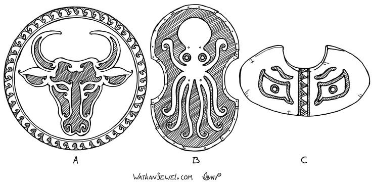 Ancient shields: A: Bronze shield (Aspis or Hoplon), B: Peltarion, C: Light shield (pelte) Niels Vergouwen Watkanjewel.com