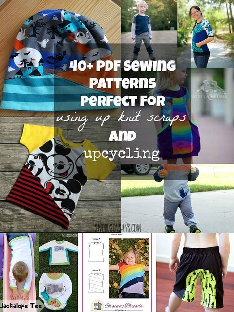 40 PDF sewing patterns that are perfect for upcycling and using up knit scraps - lots of built-in colorblocking. Swoodsonsays.com