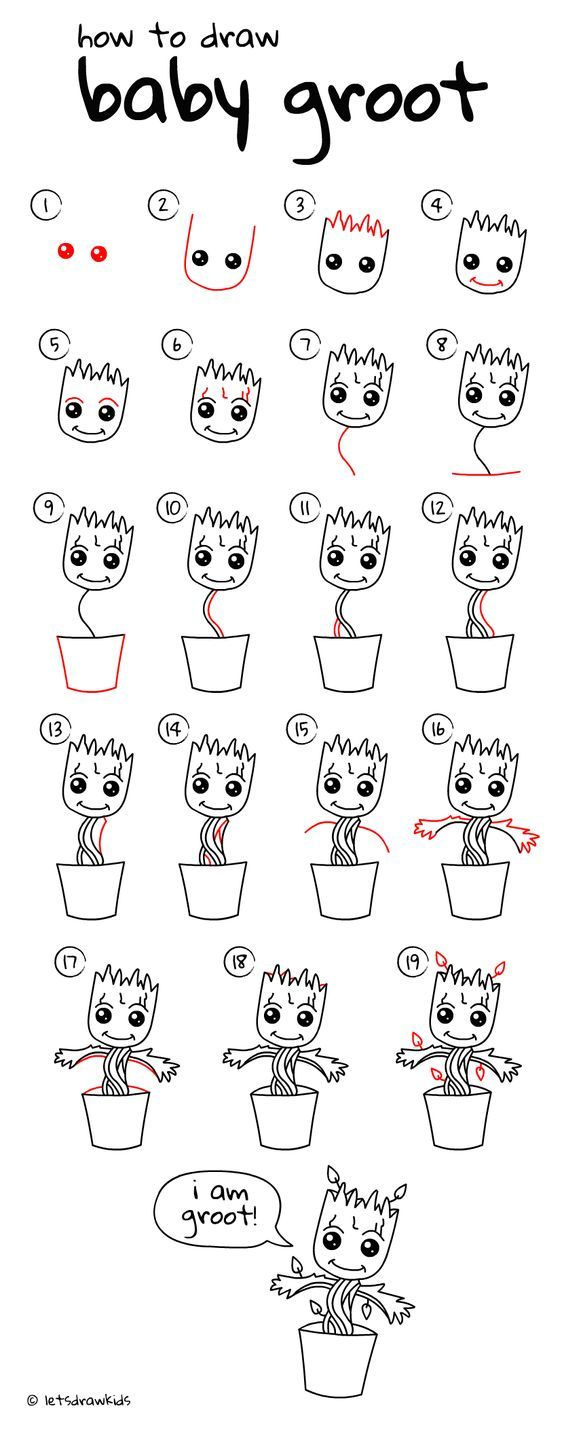 How To Draw Baby Groot (baby Plant) Easy Drawing, Step By Step
