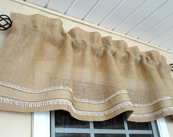 Arpillera cenefa ventana cenefa hogar ventana tratamiento cocina cenefa varilla bolsillo hogar decoración cortinas cortinas cenefa personalizada