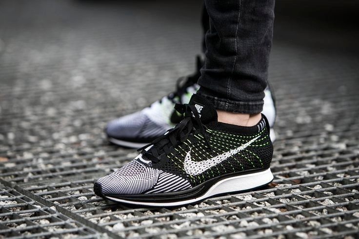 Nike Flyknit Racer Black/White/Volt - 526628-011 - 7.5, 8, 8.5, 9, 9.5, 10 #Nike #AthleticSneakers