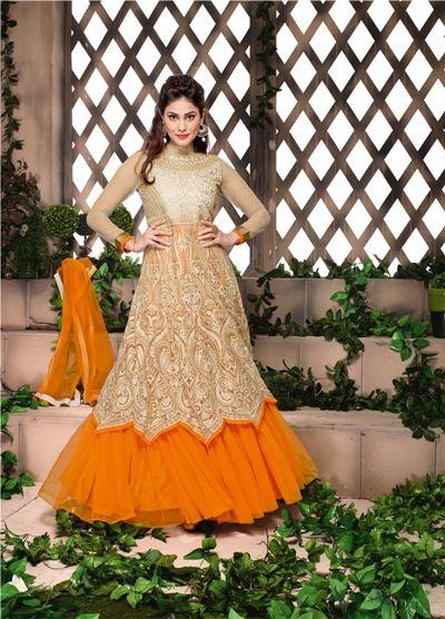 Beige And Orange Stylish Designer Anarkali Suit