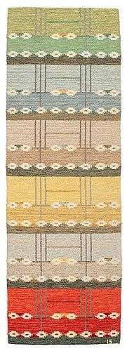 RUNNER. Rölakan (flat weave). Signed IS (Ingegerd Silow). 252 x 85,5 cm.. - Spring Modern Auction, Stockholm 560 – Bukowskis