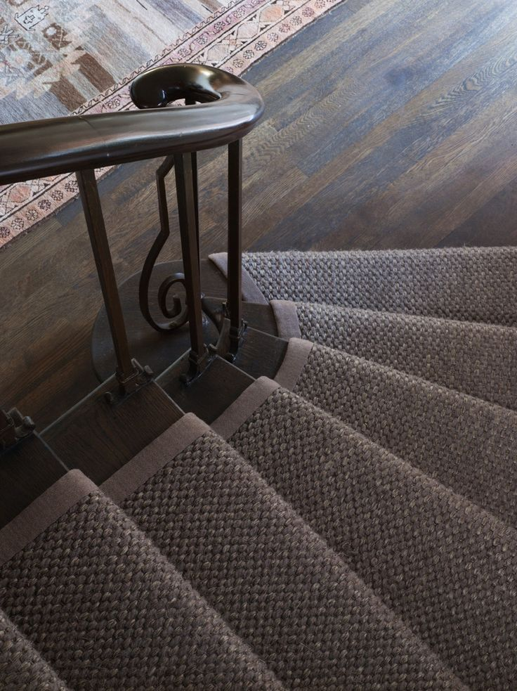 Cortina wool and sisal rug in Glades colorway. Stair installation in an Elle Decor Showhouse