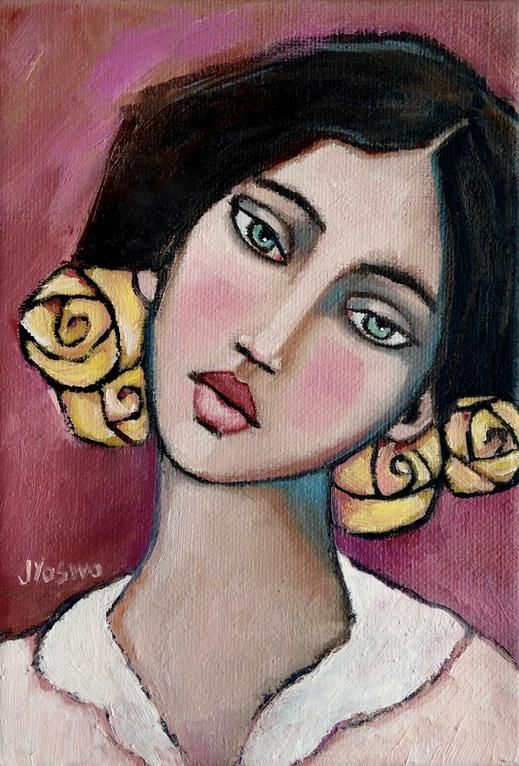 Yellow Paper Roses in Her Hair by Jennifer Yoswa