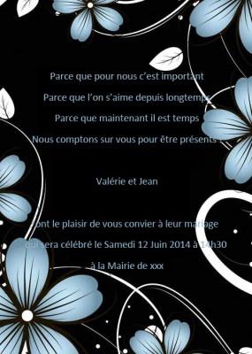 Recommander des faire part mariage - Nuit Noir Faire Part Mariage Fleur Bleu Poche Style JM511