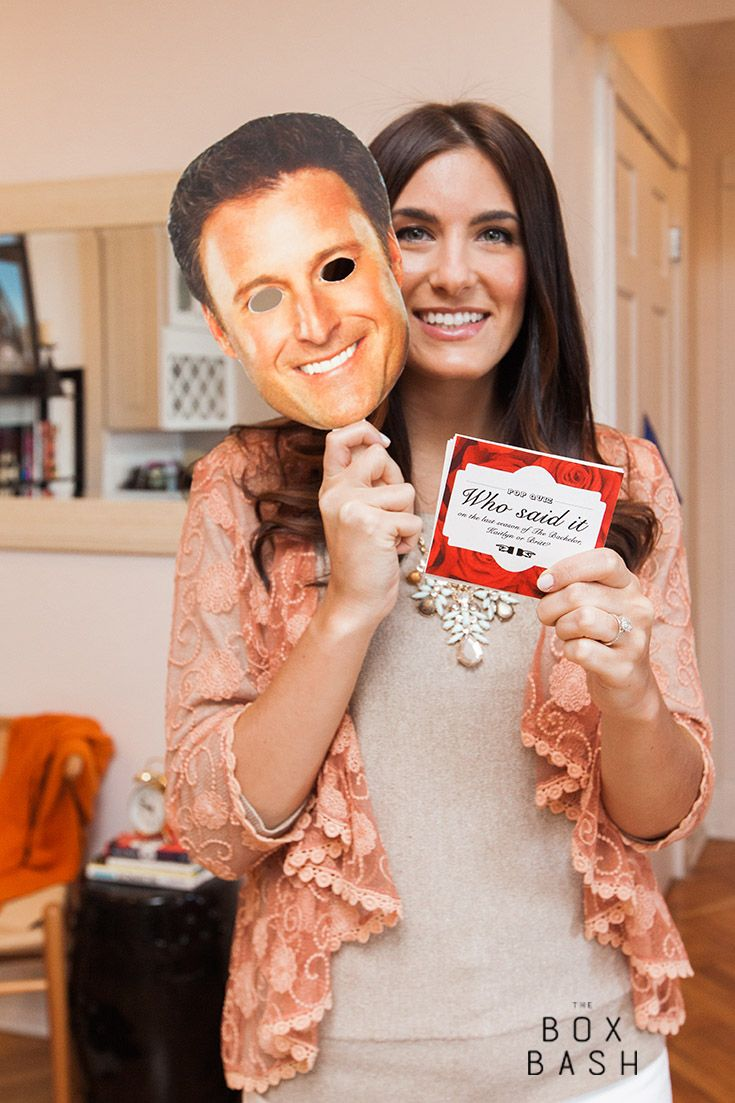 Get your Bachelorette quiz game and coordinating Chris Harrison mask in The Bachelorette Box - a box sent directly to you filled with everything you need for your May 18th premiere party! Curated and sold exclusively through The Box Bash.  #thebachelorette #bachelorette #partydesign