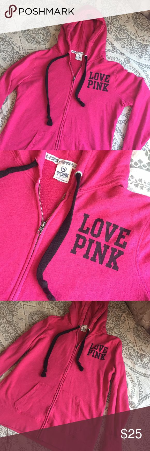 Pink by Victoria's Secret, Hot pink Zip up/ Size M Pink by Victoria's Secret/ Size M. Hot pink zip up hoodie. Super cozy, an oversized fit! Lovely color and detailing. As seen in last photo, the length goes past your waist. The style is that it is a longer hoodie. The only flaw in this the insert of the string came apart...can happily stitch it closed(just ask me to!) Other than that, no flaws, in great condition. Make an offer! / No trades / Smoke free home. Feel free to ask questions! PINK…
