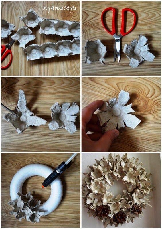 My Home Stylediy from eggs holder (package) http://homestylecz.blogspot.cz/2014/04/venec-z-obalu-od-vajec.html