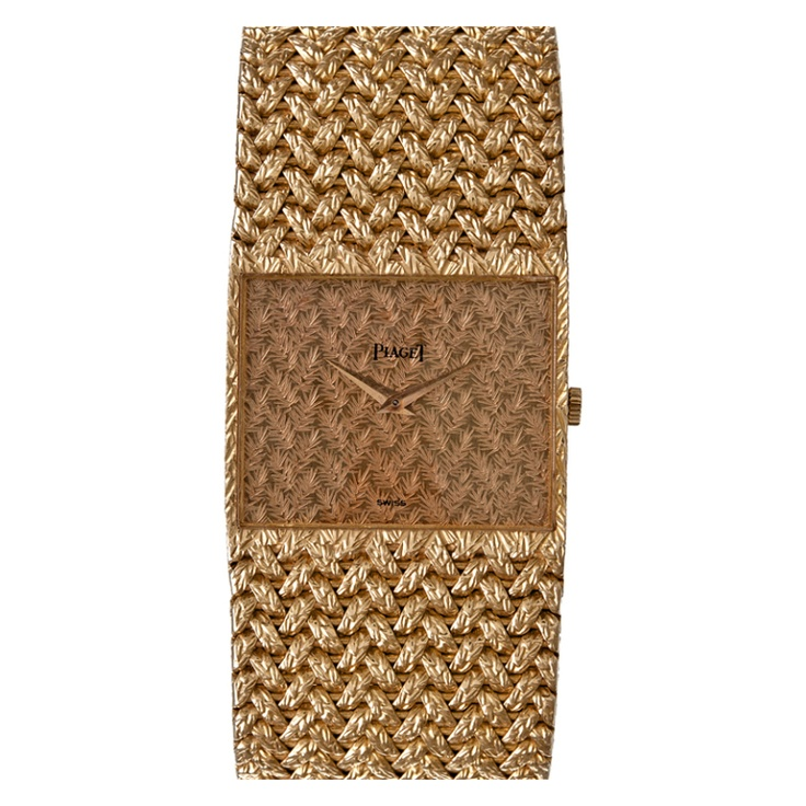 PIAGET Wide Stylized Yellow Gold Dress Watch Special Engraving