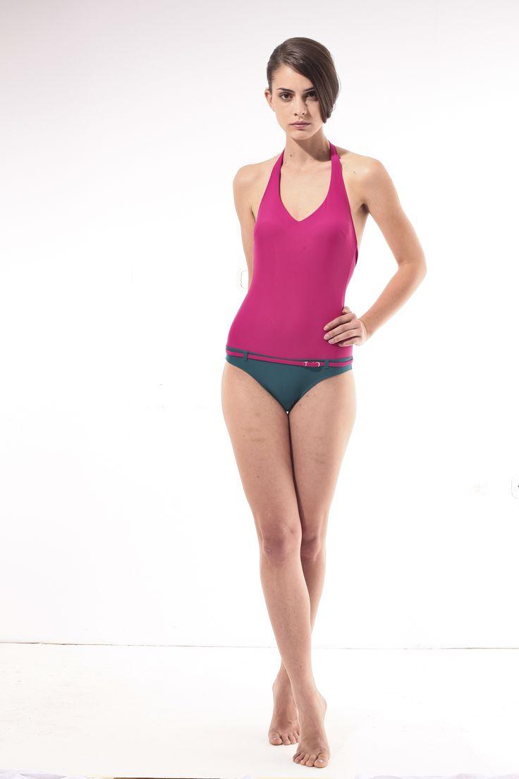 Magenta-turquise one-piece bathing suit @pelsoswimwear