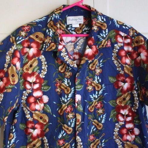 Bishop St Apparel Hawaiian Ukulele and Hibiscus Flowers Short Sleeve Shirt XL  #BishopStApparel #Hawaiian