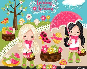Imágenes Prediseñadas de la primavera. chica rubia jugando