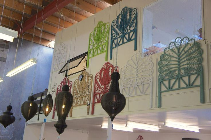 Beautiful Wire Pendant lamps and colourful Lila and Freya Bedheads.