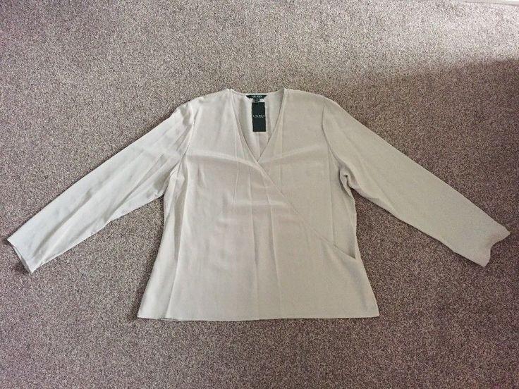 RALPH LAUREN 100% PURE SILK Size XL BNWT Ladies Shirt/ Top RRP£165 Grey Fog