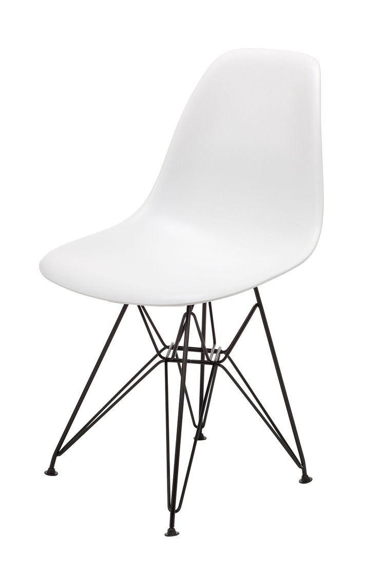 Replica Eames Chairs with Black Steel Legs -- Using innovative welding techniques for the time Ray and Charles Eames created in the 1950's a wire based dining chair constructed by bending steel rod.  Our replica Eames chairs are made to the specifications of this original design, and features the classic waterfall seat edge that ensures comfort for extended periods of sitting, reducing pressure on thighs.  The seat shell is constructed from solid plastic, the legs are finished in a black ...