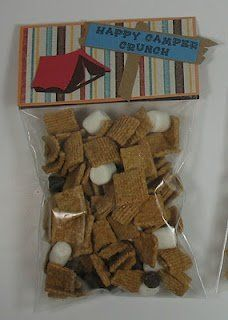Camping theme s'mores treat bag - Would be a fun surprise for the kids one day!