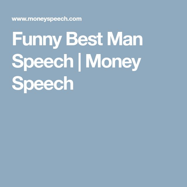 Funny Best Man Speech | Money Speech