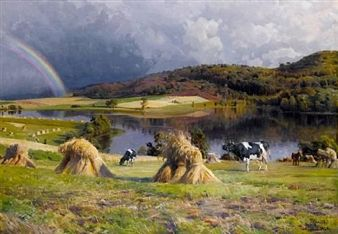 Peder Mørk Mønsted (Danish, 1859-1941) - Harvesting near Lake Thorsø, Virklund, Silkeborg ,1924