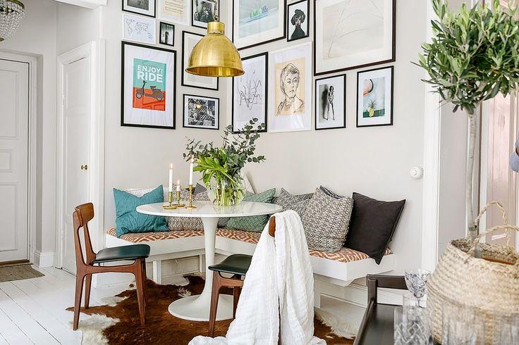 Bohemian dining room with Ikea 'Docksta' table