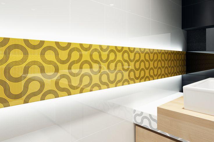 falujące linie, żółty, musztardowy, geometria, błyszczące płytki, mikrostruktura - Spin- Opoczno - najmodniejszy w tym sezonie kolor żółty to podstawa nowoczesnej aranżacji łazienki. Dla szukających mocnego akcentu - czarna płytka z błyszczącym motywem falujących linii będzie idealnym rozwiązaniem.
