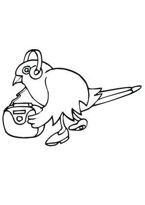 ausmalbild vogel hört musik zum ausmalen. ausmalbilder | ausmalbildervögel | malvorlagen |