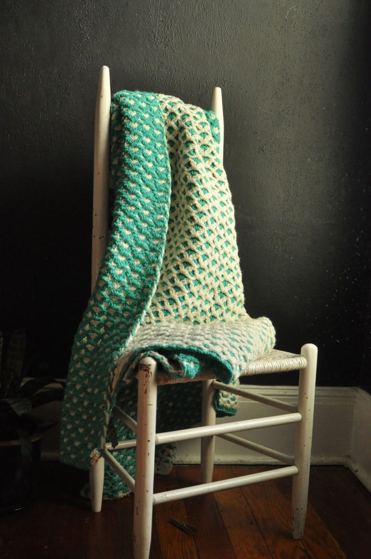 Vintage Afghan Blanket Two Tone Teal and White Thick Blanket