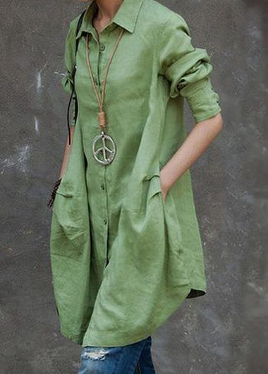 Green Turndown Collar Button Closure Long Shirt | lulugal.com - USD $26.37