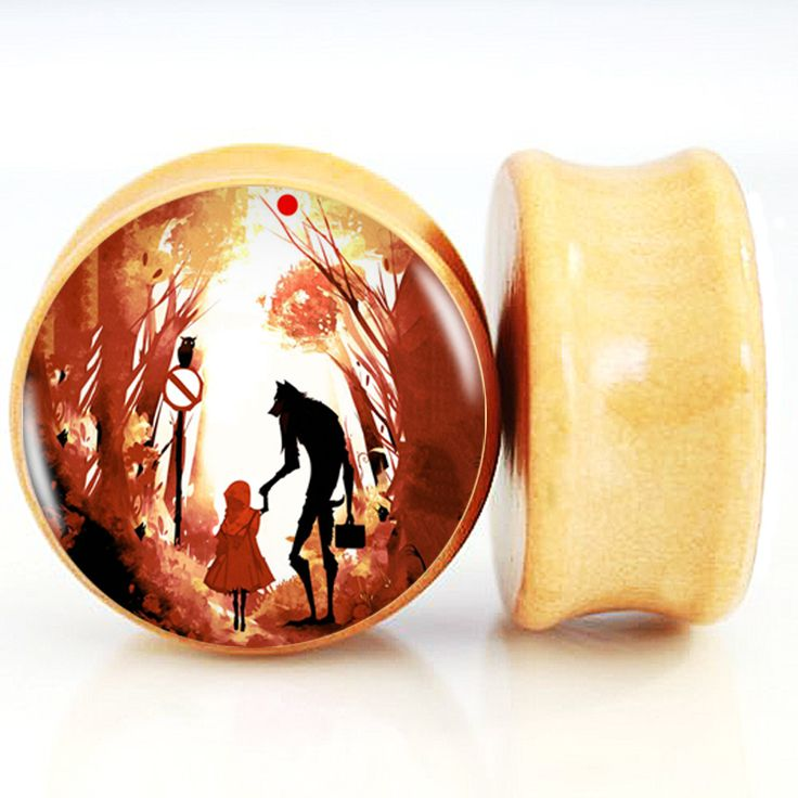 Find More Body Jewelry Information about Little Riding Hood And Her Wolf Nature Wood Ear Plug Flesh Expanders Tappi Per Le Orecchie Body Piercing Jewelry 6mm 25mm,High Quality body piercing jewelry,China piercing jewelry Suppliers, Cheap wood ear plug from DreamFire Store on Aliexpress.com