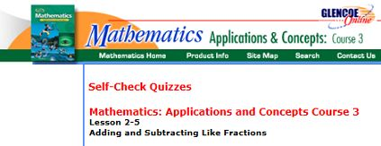 "This is an image from this resource on the Internet4Classrooms' ""Seventh Grade Interactive Math Skills - Fractions"" resource page:    Adding and Subtracting Like Fractions.    Test your fraction knowledge with this 5-question self-checking quiz on adding and subtracting like fractions."
